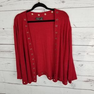 Travelers by Chicos Open Front Cardigan Size 4 Red